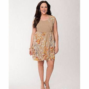 Lane Bryant tan geo swirl sleeveless lined dress